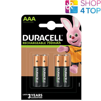 4 DURACELL RECHARGE AAA BATTERIES BLISTER 1.2V HR03 DC2400 NiMH 750mAh NEW