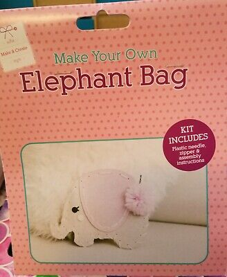BN The Works Children Craft Pink Make Your Own Elephant Bag Kit Ideal Present
