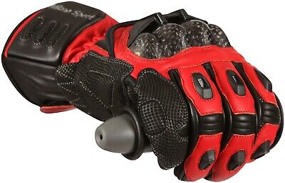 Milano Sport Jerez Black Red Leather Motorcycle Sport Gloves New
