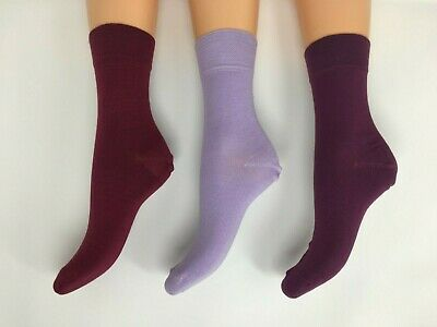Luxury Bamboo Socks 3 Pairs Ladies Ankle high in Purples size 4-7  UK STOCK