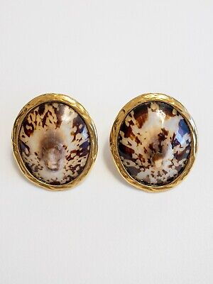 92fc2c11727 AUTHENTIC YSL YVES SAINT LAURENT RIVE GAUCHE Real SHELL EARRINGS Made In  France