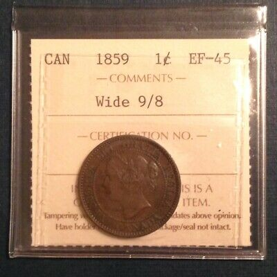 - Canada One Cent 1859 Wide 9/8 Victoria - A Superb ICCS Strictly Graded Coin