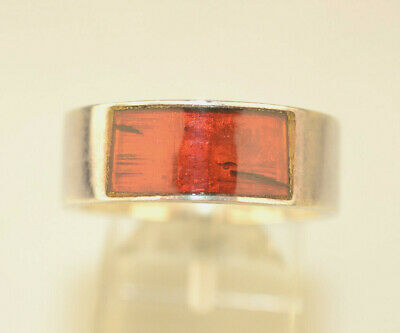 Vtg Mens Sterling Silver Inlaid Amber 7.9 Mm Wide Band Ring Size 10.75 8.7 Grams