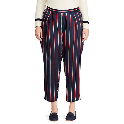 Ralph Lauren Size 16W Pants Women Striped-Twill Straight-Leg Ankle Pant NEW $125