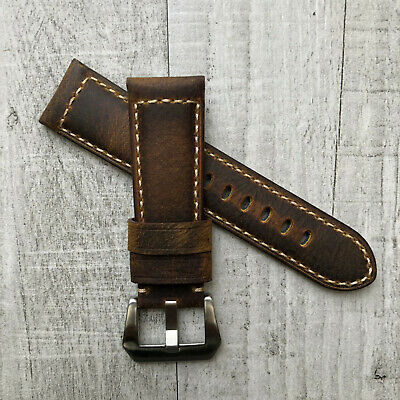 For Panerai PAM Watch 22/24/26mm Brown Italian Bull Leather Strap Band & Buckle