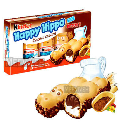 KINDER HAPPY HIPPO COCOA CREAM BISCUITS WITH COLA & MILK FILLING 10 x 5 PACK