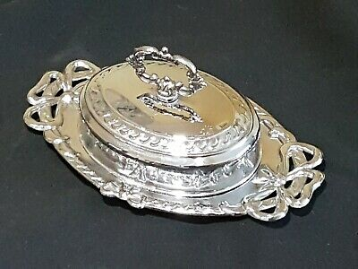 Vintage Chrome Lidded Butter / Sauce Serving Dish With Glass Liner