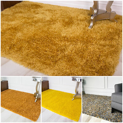 Furry Thick Soft Yellow Shaggy Rug Fluffy Non Shed Cheap Dense Living Room Rugs