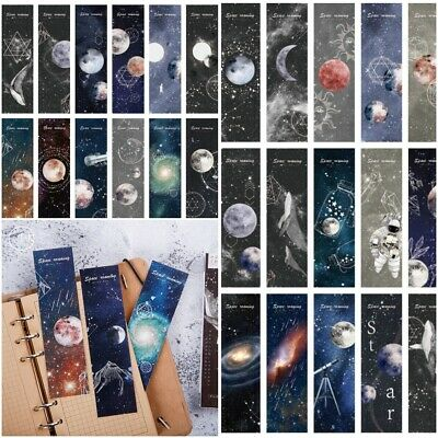 30 Space Roaming Book Markers - Moon Galaxy Universe Themed Bookmarks