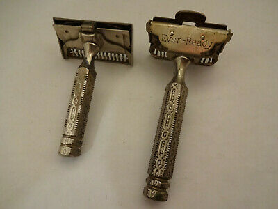 Vintage Lot  of 2 Old Ever Ready Single Edge Safety Razors Ornate Handles