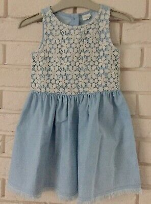 Next Girl Blue Dress Lace Details Summer Holiday Party Age 4 Years