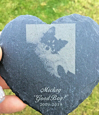 FATHERS DAY Pet Memorial Laser engraved slate HEART or SQUARE with stand For HIM