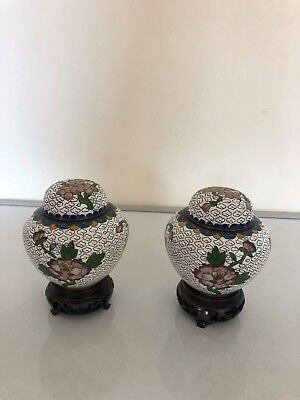 Lovely Pair Of Colourful Cloisonne Lidded Jars On Hardwood Stands