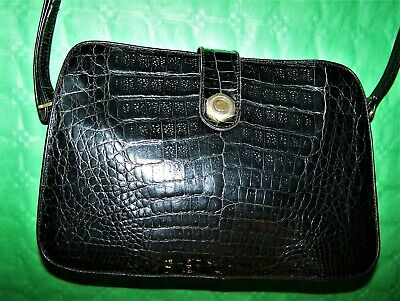 "Borsa ""Fiaschi"" Coccodrillo Vtg '90 Crocodile Hand Bag Made In Italy"