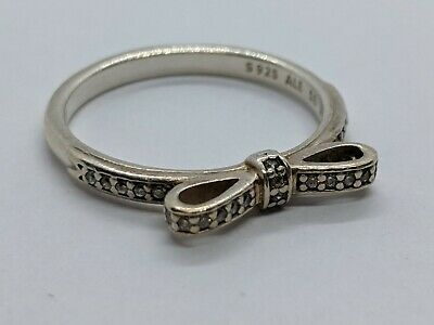 3262d948d PANDORA Sterling Silver 925 ALE Sparkling Bow Clear CZ Ring Size 8.5 FREE  SHIP