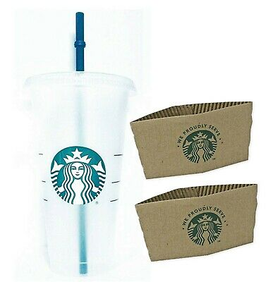 Starbucks Siren Mermaid Reusable Plastic Cup Venti, Lid, Stopper Straw & Sleeves
