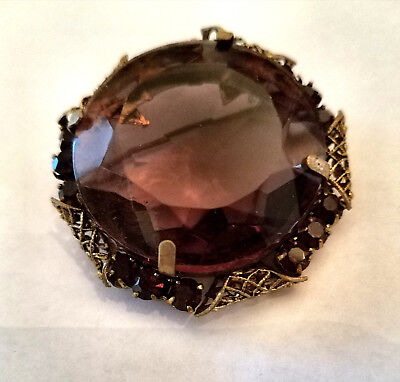 VINTAGE ANTIQUE 50-60s FACETED PURPLE TOPAZ 22Kt GF CLASSIC BROOCH PIN USSR 1.75