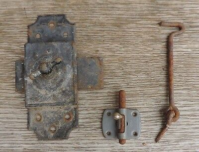 Antique Set Lock Latch Door Catch Latch Catch Lock Wrought Iron Metalwork