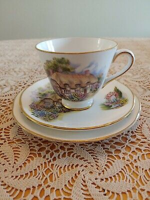 Royal Tara Cottage Irish Fine Bone China Tea Cup Saucer Plate 3 piece Set Garden