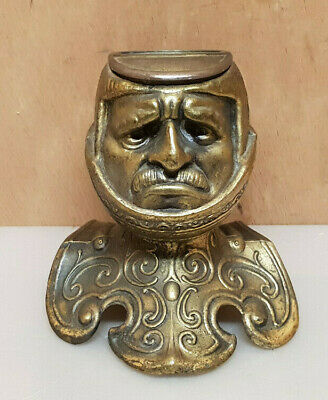 Inkwell Antique Head Set Knight in Bronze