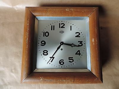 Antique Wall Clock Square Brand Odo with Key Vintage