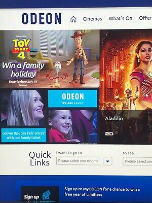 1 x ODEON Cinema 2D Adult Ticket E-Code - Incl 75p Fee - VERY QUICK DELIVERY