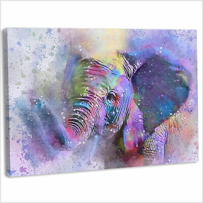 Elephant Canvas Print Framed Abstract Style Wall Art Picture  - 76x51cm