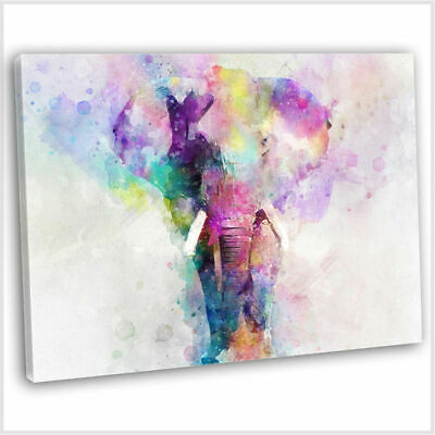 Colourful Elephant Canvas Print Framed Abstract Style Wall Art Picture 76x51cm