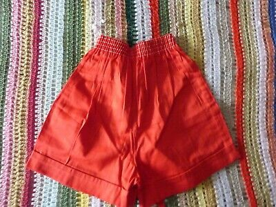 TRUE Vintage cotton Shorts- Age 4 - Red  - Elastic Waist - DEADSTOCK / NEW- HTF