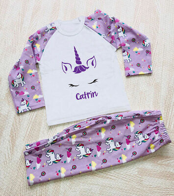 Personalised Unicorn Face Girls' Pyjamas,Size 6-12mths - 9-10yrs, Any Name PJs