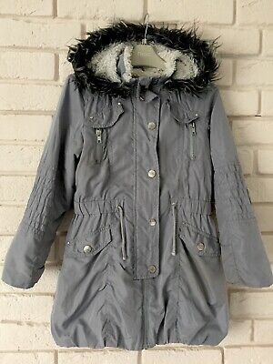 Next Girl Grey Parka Jacket Age 7-8 Years I'll Combie Postage