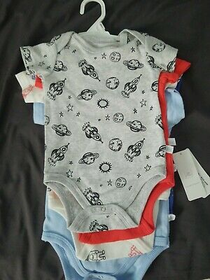 Rosie Pope Baby Boy 6-9 Month 5 Pk bodysuits astronaut/ outer space