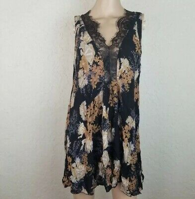 ef585bae1074d Intimately Free People Dress Women Size L Lace Black Floral Swing Slip  Sheer NWT