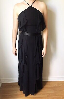 5435d797a072 White By Vera Wang Bridesmaid Dress In Ebony Gown Chiffon High Neck Tie  VW360409