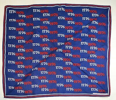 "Vintage 27"" 1976 1776 American Bicentennial USA Scarf Red White Blue Patriotic"