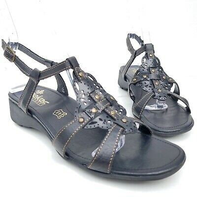 1475ee2854 Rieker Ankle T-Strap Sandals Black Leather Studded Shoes Womens Size 38  7-7.5