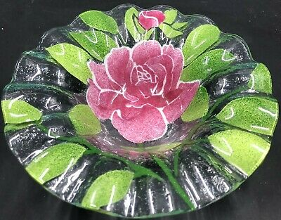 Sydenstricker Fused Art Glass Pink Rose Dish Ruffled Edge Signed 6.5""