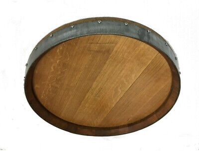 Oak Wine Barrel Head Rustic Style Solid Wood Contemporary Theme 23 in. x 23 in.