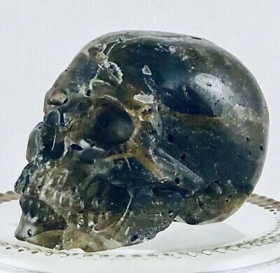 """2"""" Polished Rutilated Smoky Quartz Crystal Skull Carving Intuition Protection"""