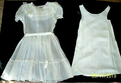 0b2594d906cb Vintage Girls 50s Sheer Organdy & Lace Ivory Summer Party Dress & slip