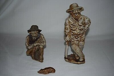 Swagman And Cricket Player Foxhill Farm Vintage- Pottery Figurine