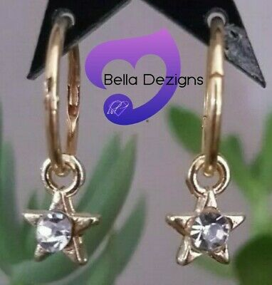 MED 14mm 22ct Gold Plated on Solid Sterling Silver Sleeper Earrings with charms
