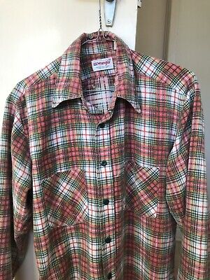 Authentic Vintage Wrangler USA Flannel Shirt Mens Small Or Medium Lumber Check
