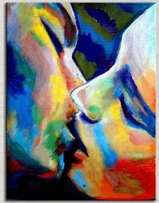 """New Hand-painted Modern Abstract Art Canvas Oil Painting """"Kiss"""" Home Decor A127"""