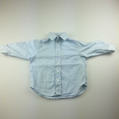 Boys size 0, Seed, light blue linen long sleeve shirt, GUC