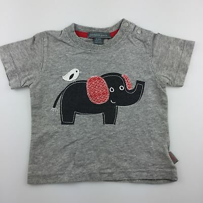 Boys size 00, Pumpkin Patch, grey cotton t-shirt / tee, elephant, GUC