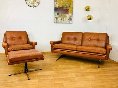 VINTAGE RETRO SVEND SKIPPER MID CENTURY DANISH LEATHER SOFA GROUP 1960,s