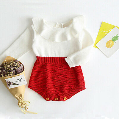 Newborn Baby Girl Wool Knitting Top Romper Shorts Warm Outfits Winter Clothes UK