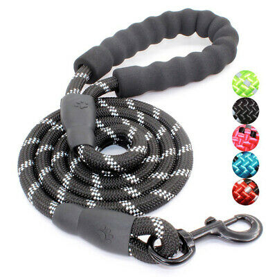 5FT Reflective Dog Pet Lead Leash Training Walking Extra Strong Hunting Rope