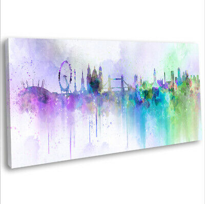 London Panoramic Skyline Canvas Print Abstract Framed Wall Art  91x40 cm